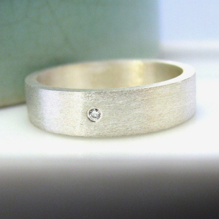 Diamond Wedding Band White Gold Plated Over Sterling Silver 5mm Ring