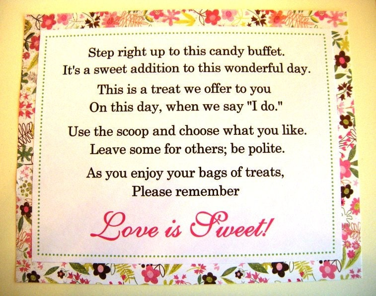 8x10 Flat Wedding Candy Buffet Love is Sweet Poem Sign Pink and Green