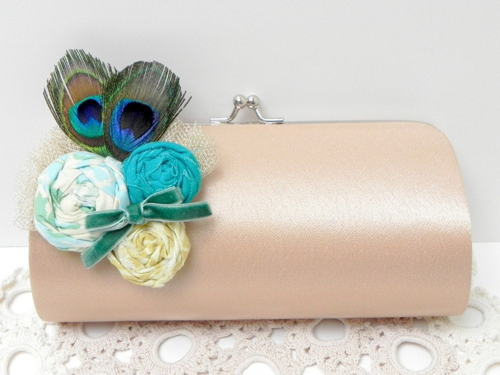 Peacock Feather Clutch Bridal Clutch Bridesmaid Clutch Kisslock Snap