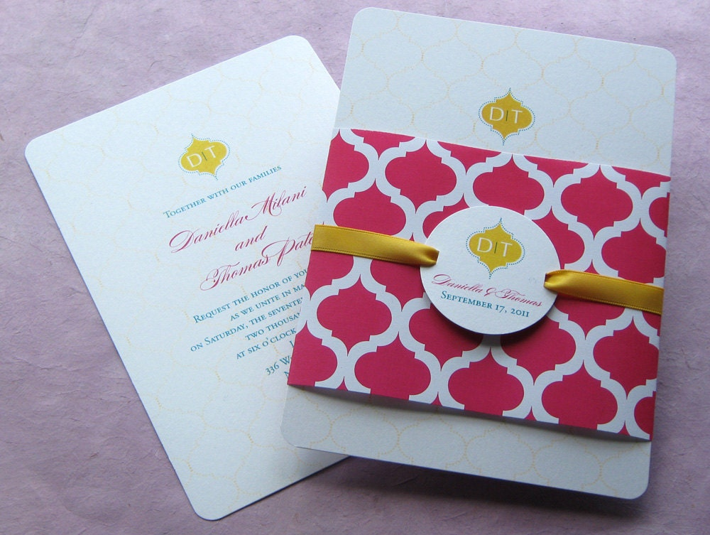Indian Arch Wedding Invitation Monogram Sample From ImbueYouIDo