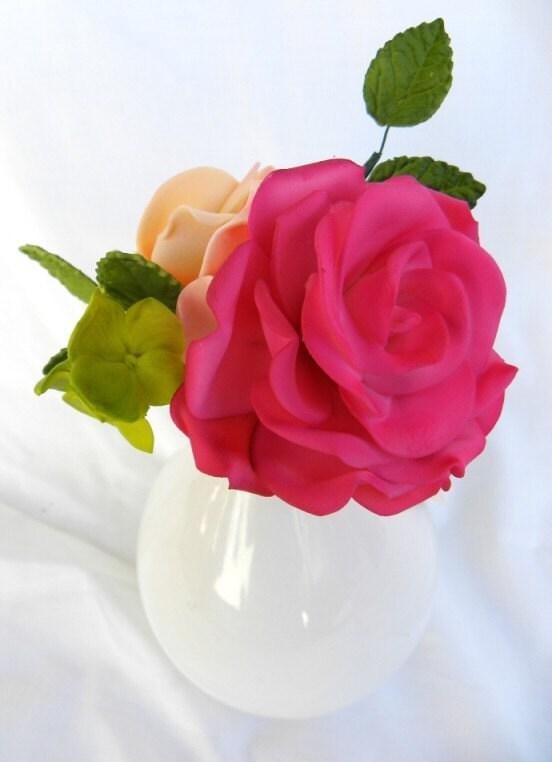 Edible Gum Paste Flower Cake Rose Wedding Cake Topper 35 in Choose Your