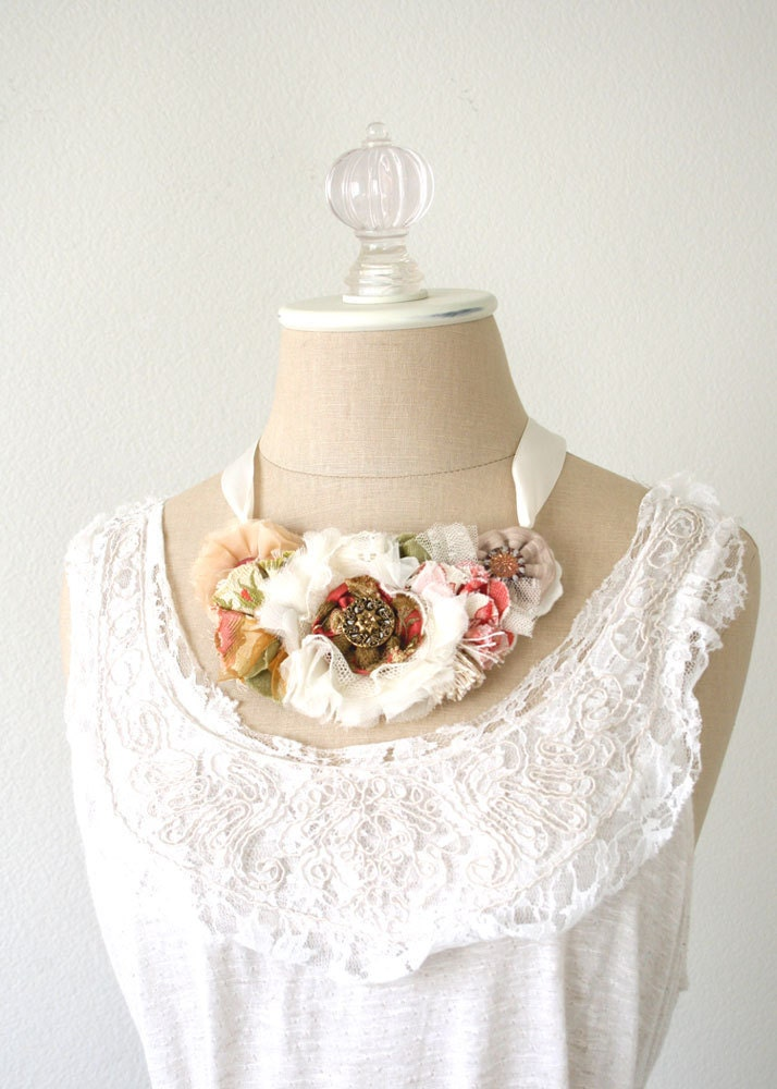 Wedding Floral Necklace in Soft White Blush Pink Rose Red with Vintage