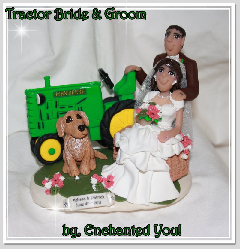 wedding cake toppers blue tractor
