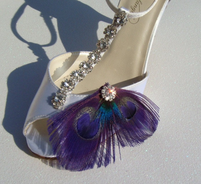 Super Sexy Purple Peacock Crystal Bridal Shoe Clips Perfect Bridesmaid