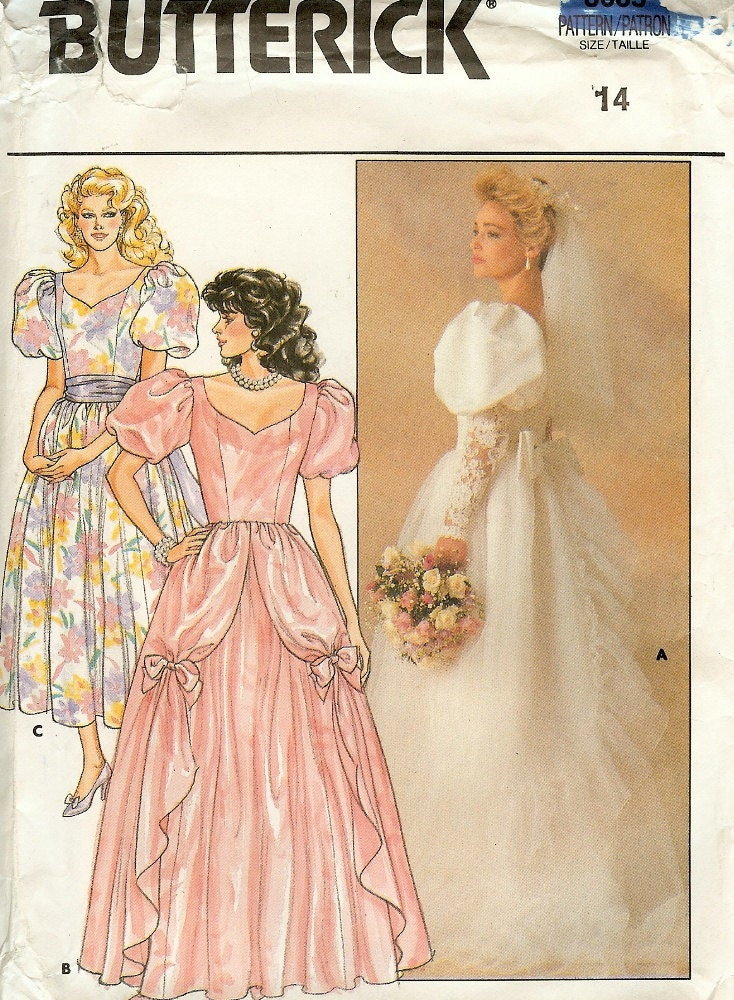 Wedding Dress Pattern Vintage Butterick 3685 Size 14 Bust 36