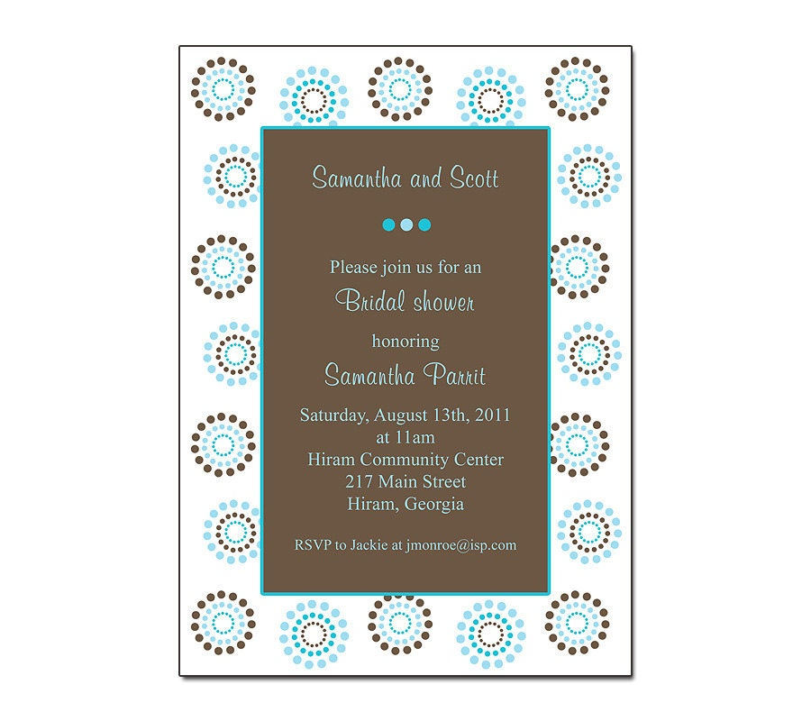 wedding invitations turquoise and brown