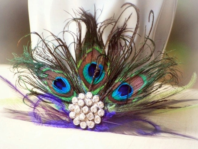 Statement Peacock Fan Fascinator Couture Bride Bridal Bridesmaid Birthday