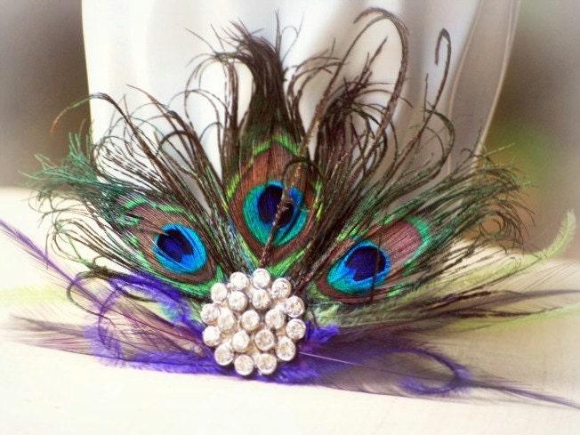 Statement Peacock Fan Fascinator Couture Bride Bridal Bridesmaid Birthday