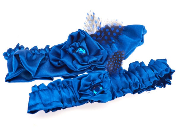 Royal blue wedding garter keepsake and toss set with royal polka dot guinea