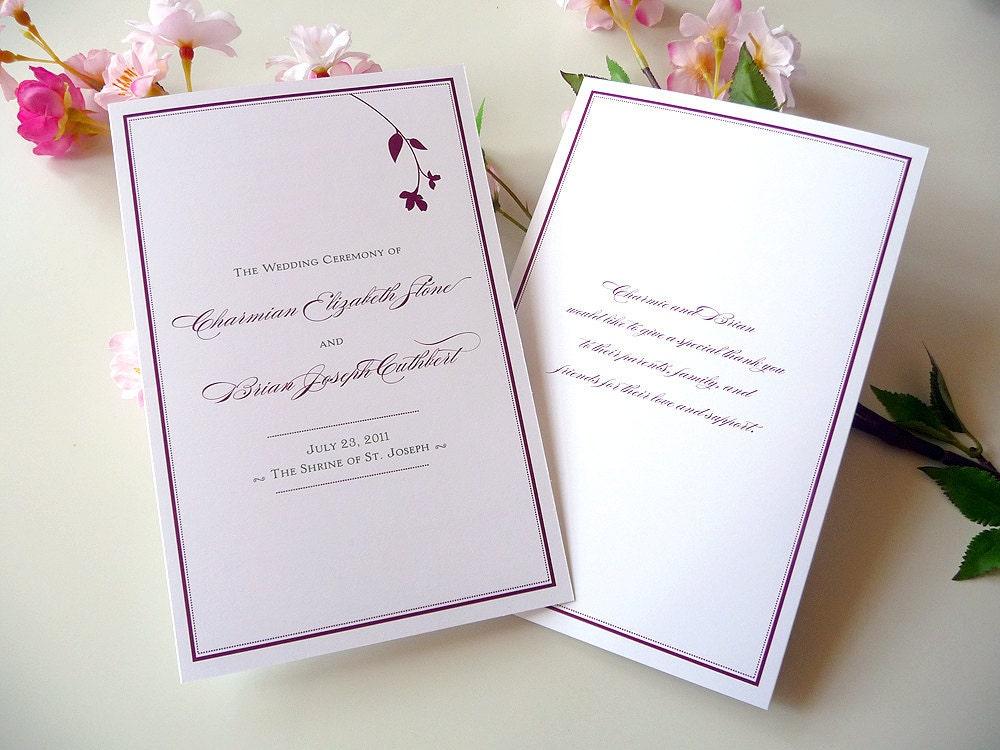 100 Sweet Branch Folded Wedding Programs From PrettyStationeryShop