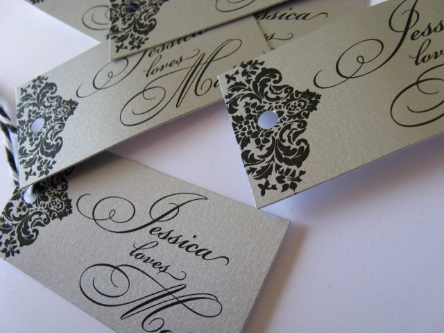 Silver Damask Wedding Favor Tags Calligraphy Flourished Thank you tags