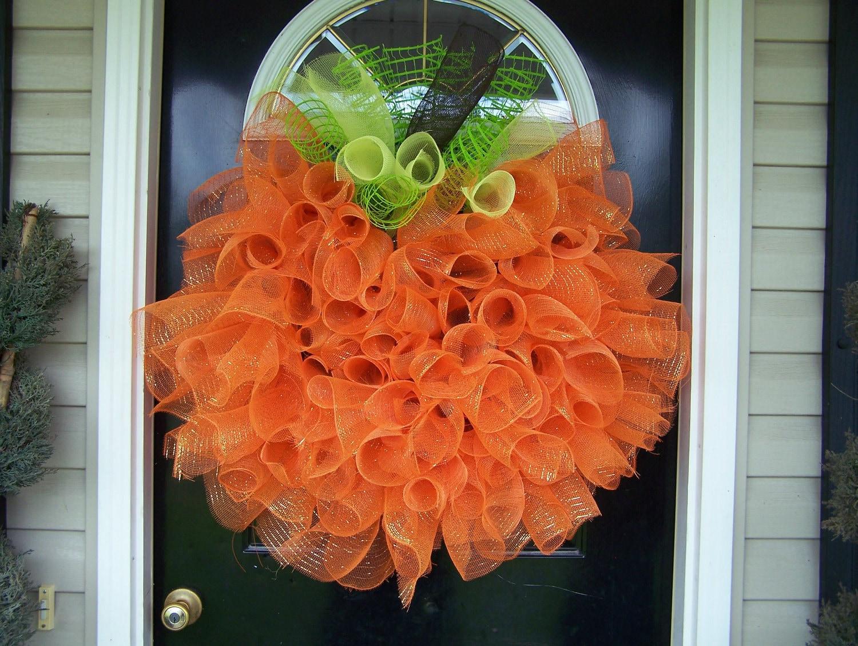 Thanksgiving front door decorations - Mesh Halloween Door Wreathsbyrobin On Artfire Com