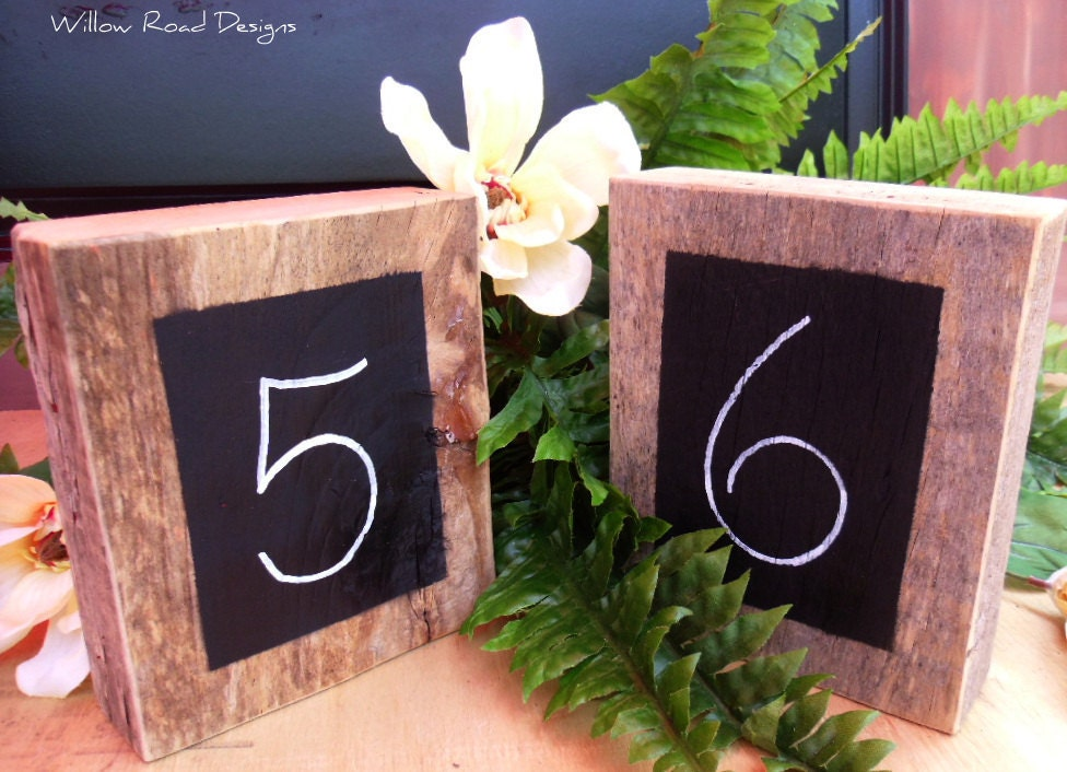 Rustic Wedding Chalkboard Barnwood Table NumbersSet of 12
