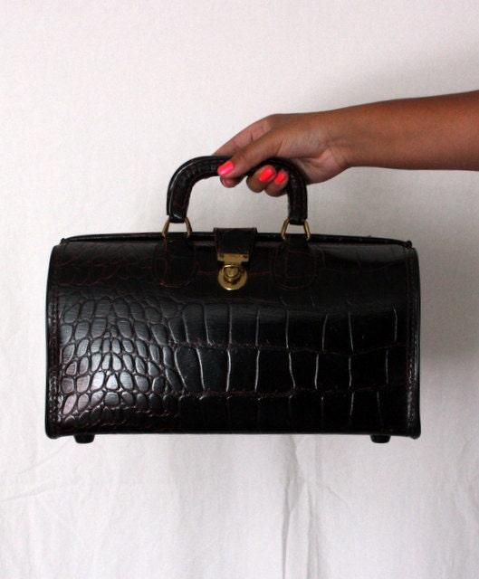 RESERVED Doctors Bag Purse - Vintage 1940s Leather ...