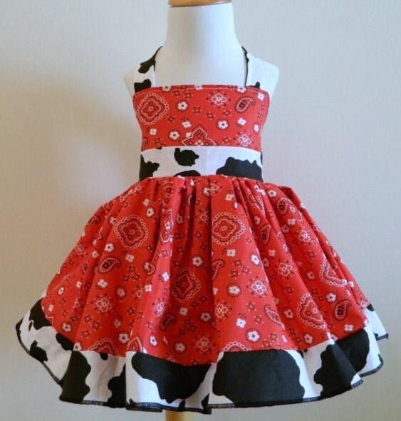 Girls Handmade Red Cowgirl Square Dance Dressy Halter