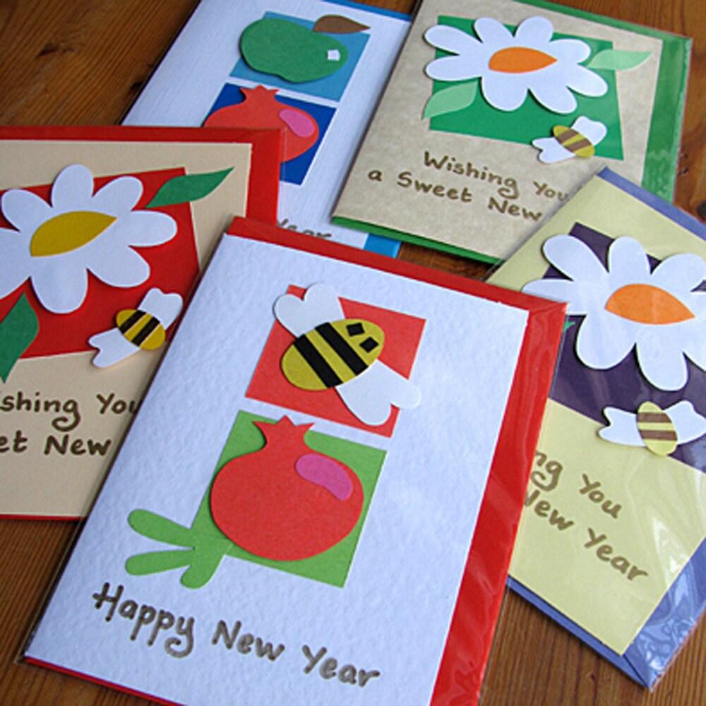 etsygreetings handmade cards rosh hashanah cards  set of