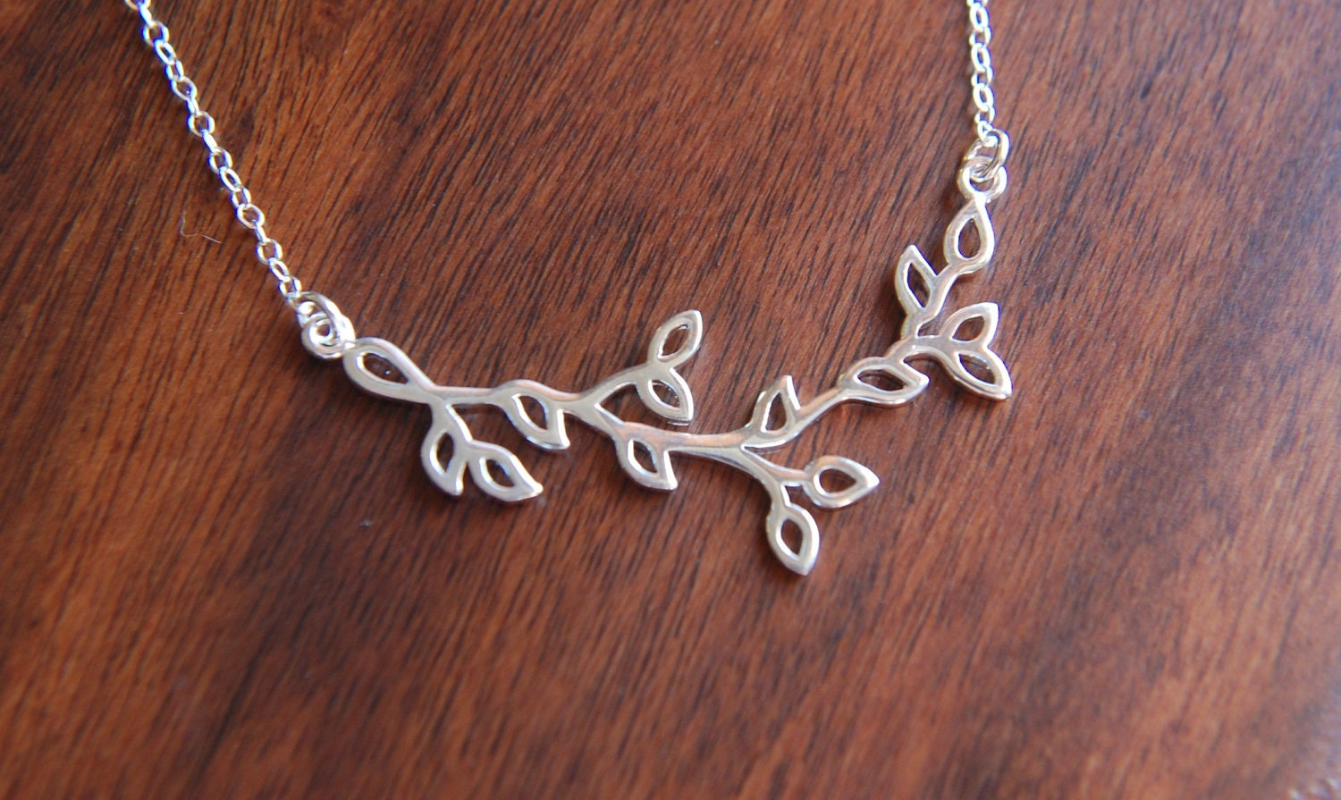 Silver leaf branch pendant necklace etsy