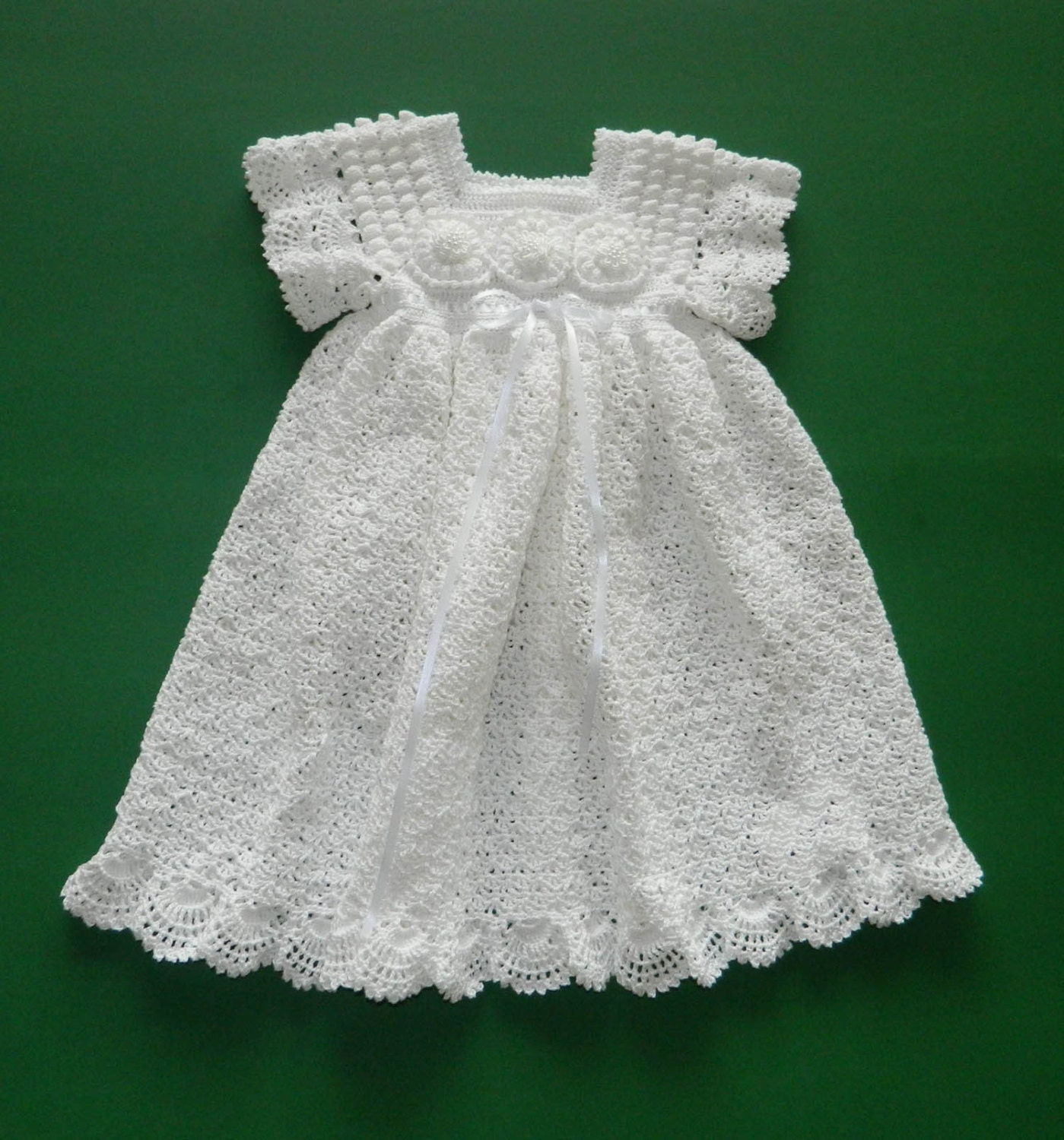 Vintage Crochet Christening Gown Floral Infant Dress Pattern USA 1