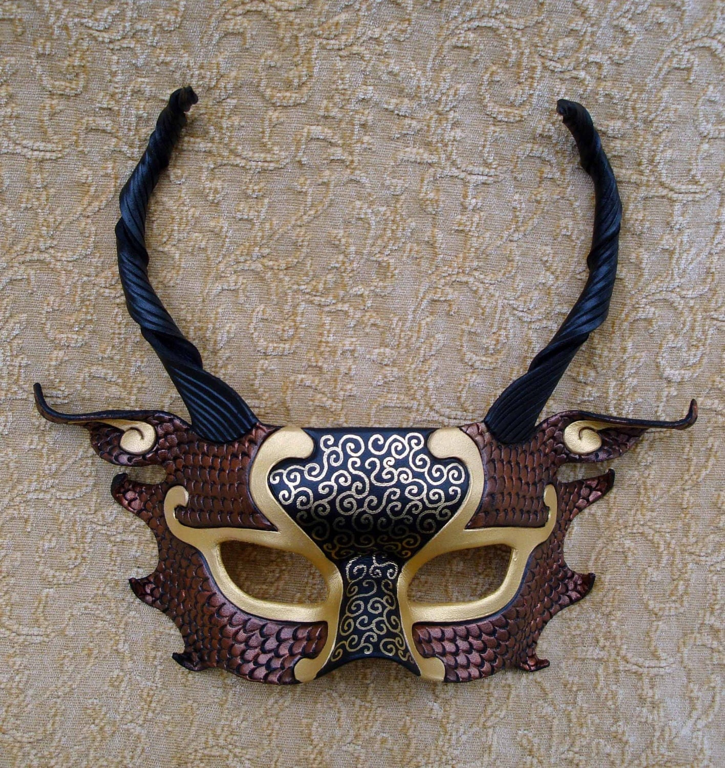 Favorite Like this item?  Add it to your favorites to revisit it later. Black, Gold and Copper Dragon Half Mask handmade leather mask on Etsy