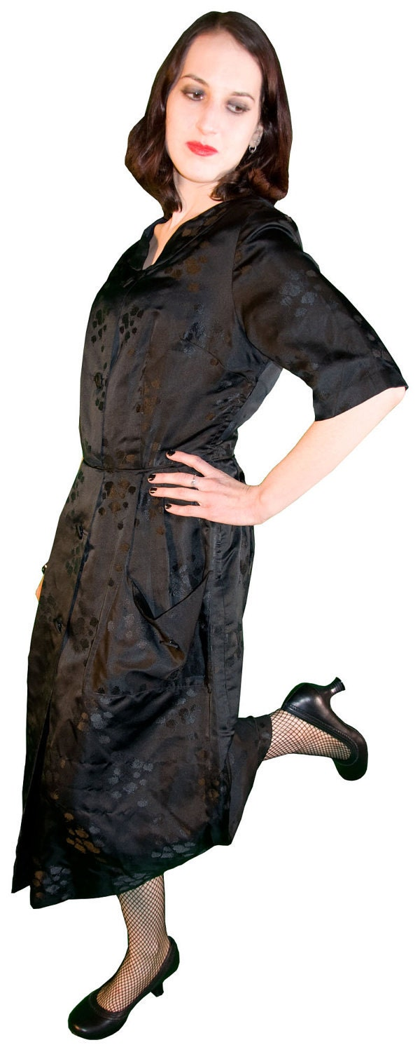 black vintage 1950s dress with rose pattern