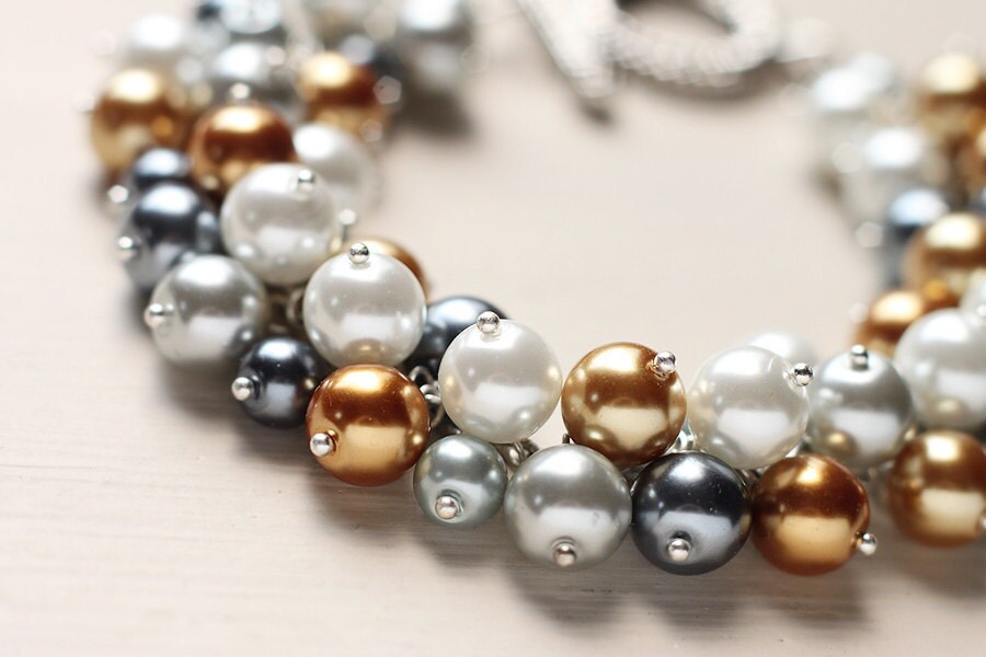 Gold Yellow Grey Wedding Jewelry Pearl Cluster Bracelet I Dream of