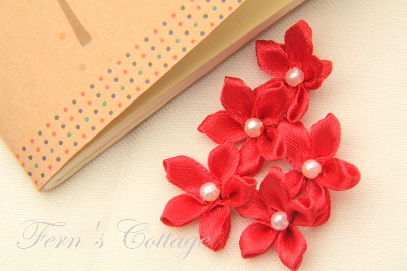 Red Satin Ribbon Flower Handmade Wedding Decoration Applique 10 PCS