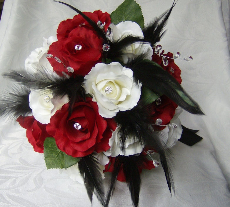Wedding bouquet set red and white roses black feathers crystal gems bridal