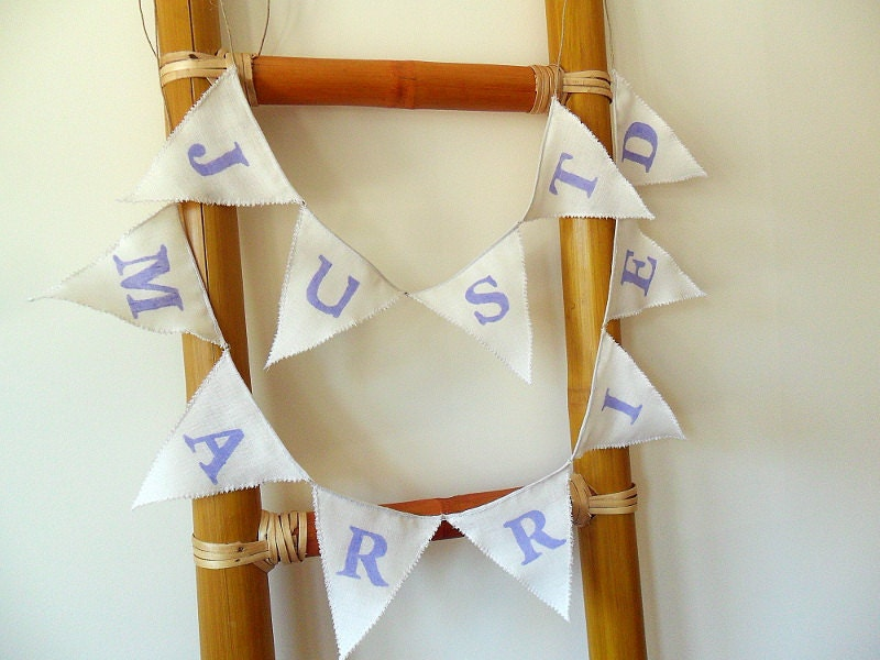 Just Married Wedding Banner Wedding Bunting with Lilac Letters