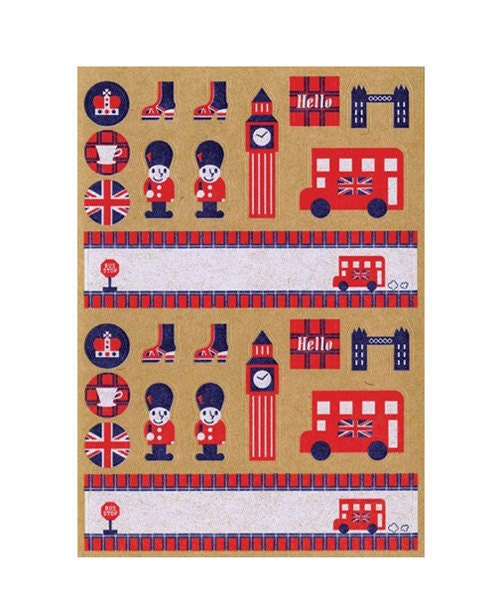 London Style Kraft Sticker (1sheet)