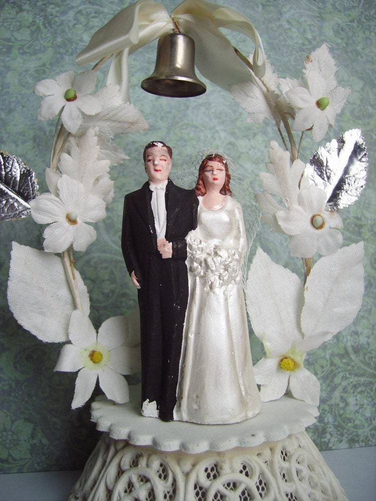 Vintage Wedding Cake Topper Bride and Groom Plaster figure on Decorated