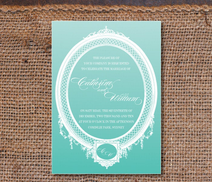 Vintage Wedding Invitations DIY Set printable Stylish Antique Frame