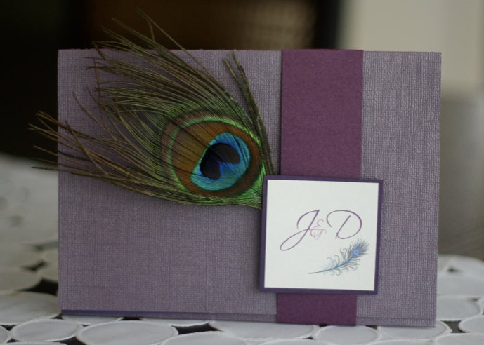 CUSTOM PURPLE PEACOCK pocketstyle wedding invitation From megmacdesign