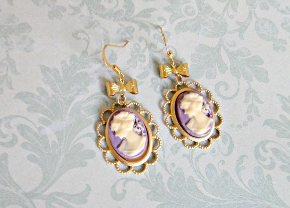 Vintage Inspired Lilac Cameo Earrings Romantic Bridal