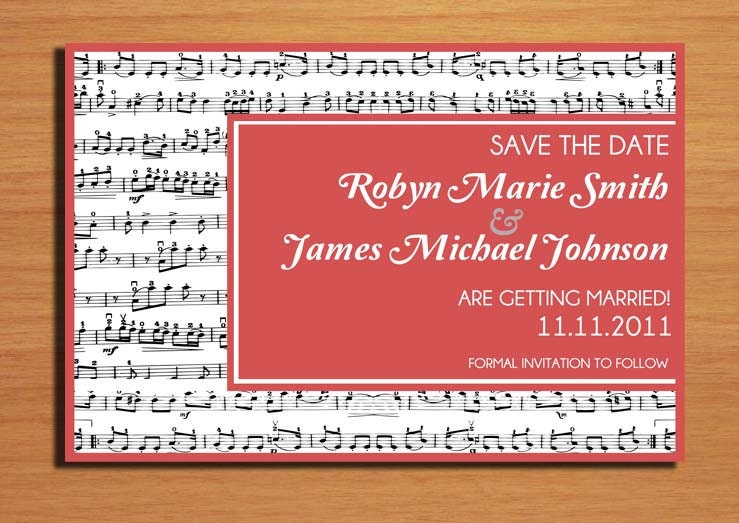 Music Lovers Wedding Save the Date PRINTABLE DIY
