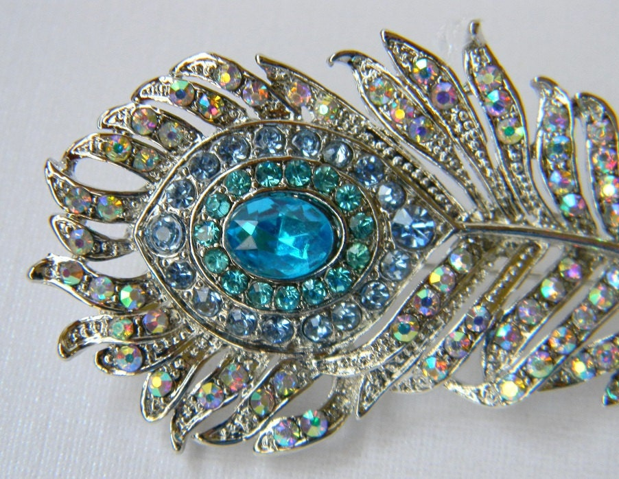 Rhinestone Peacock Feather Hair Clip Aqua and Turquoise Bridal Hair Clip