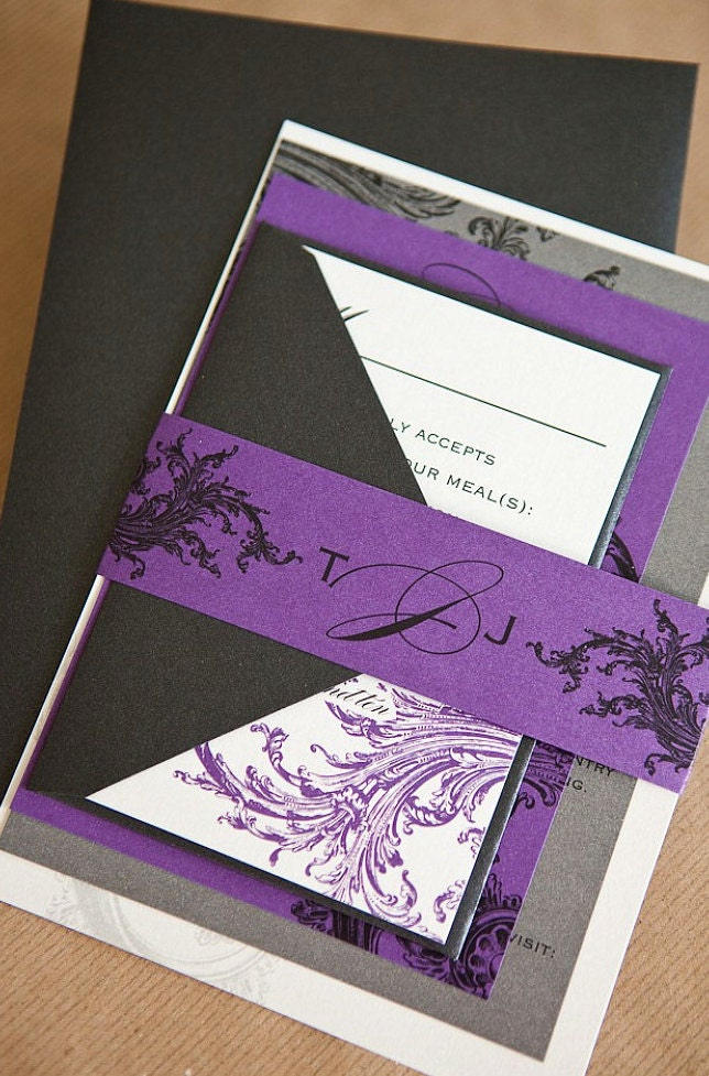 Limeade Wedding Invitation Suite with Belly Band Purple Black
