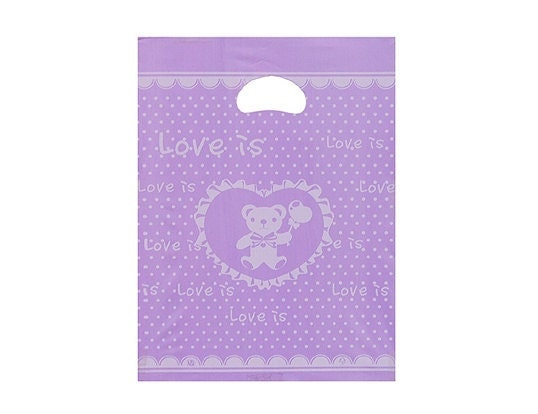 50 Love bear Opaque Cut Out Handle Plastic Bags -violet,25 x 35cm