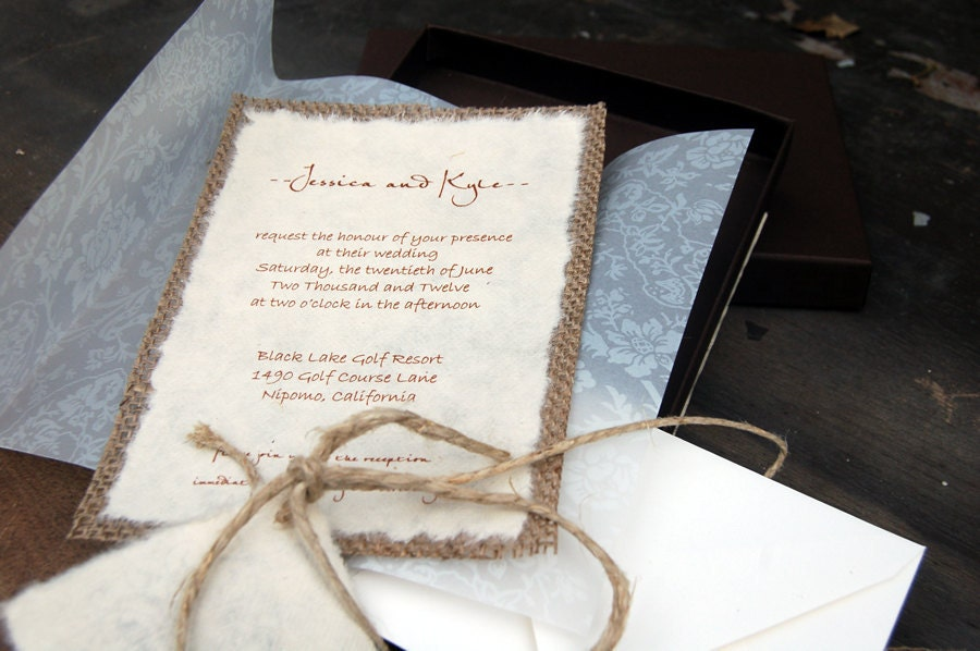 Do It Yourself DIY Rustic Burlap and Vellum Lace Wedding Invitation in