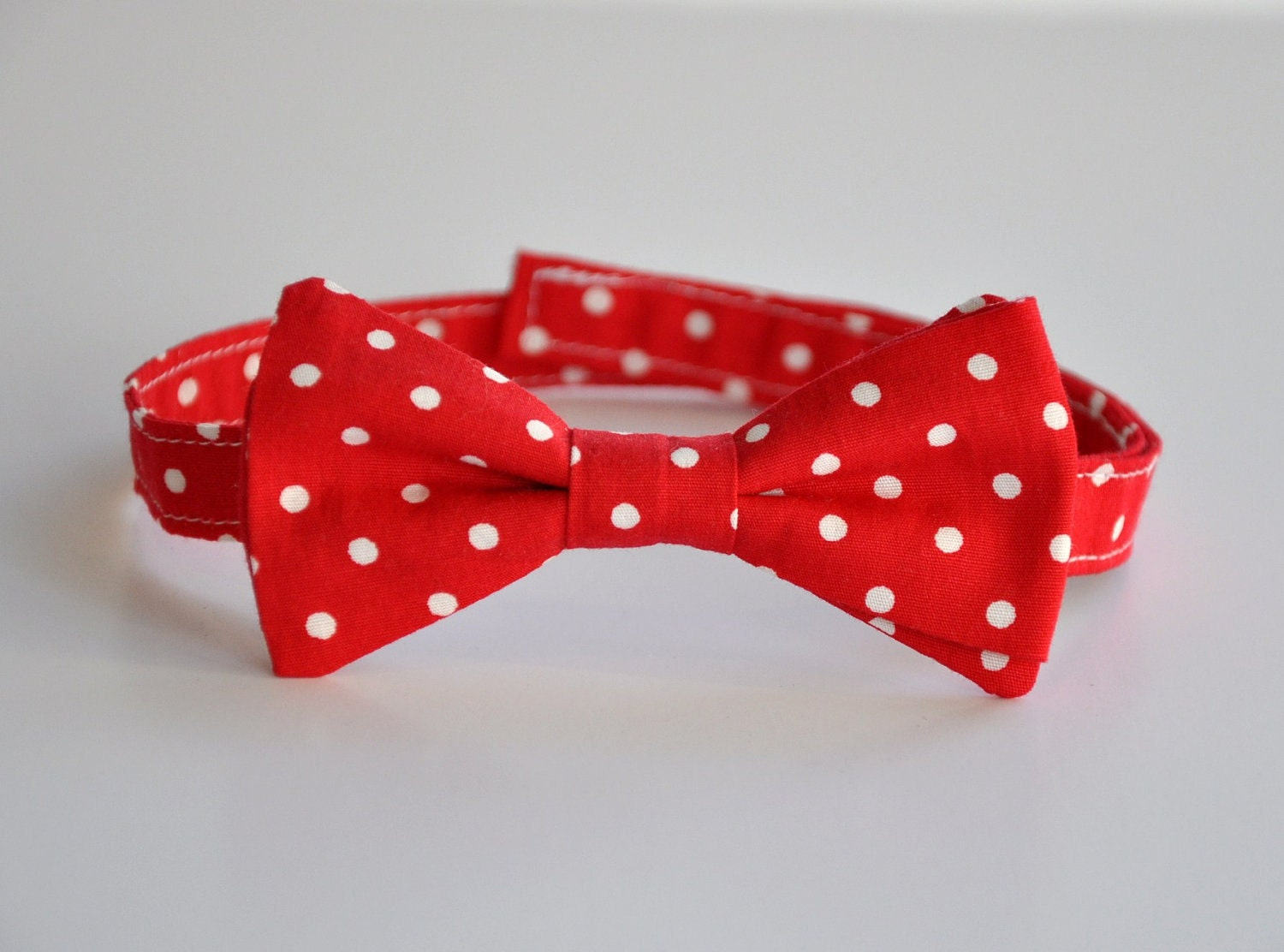 Boys Bowtie Red and White Valentine Dots