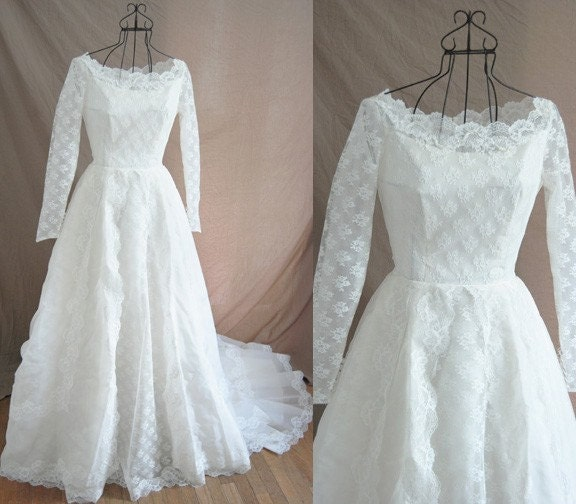 vintage 50s Wedding Dress Alfred Angelo Couture Ivory Lace Illusion