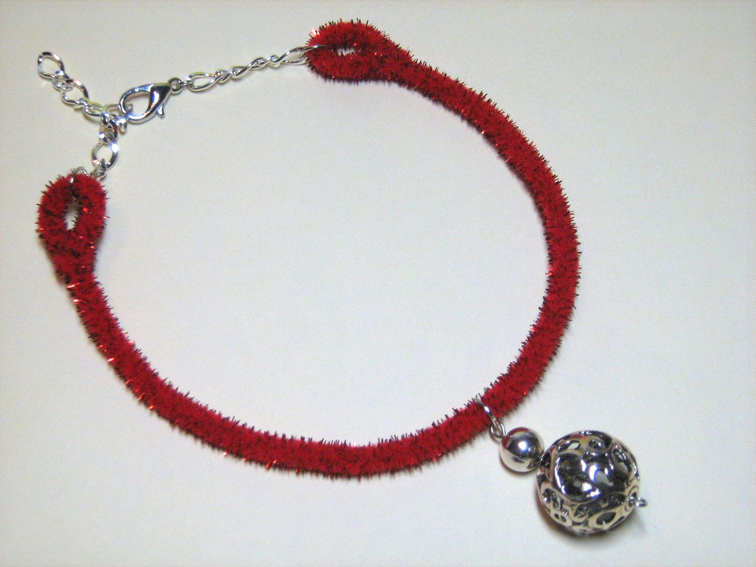 Pet Necklace: Filigree Sphere Pendant on Glittery Red Chenille Stem