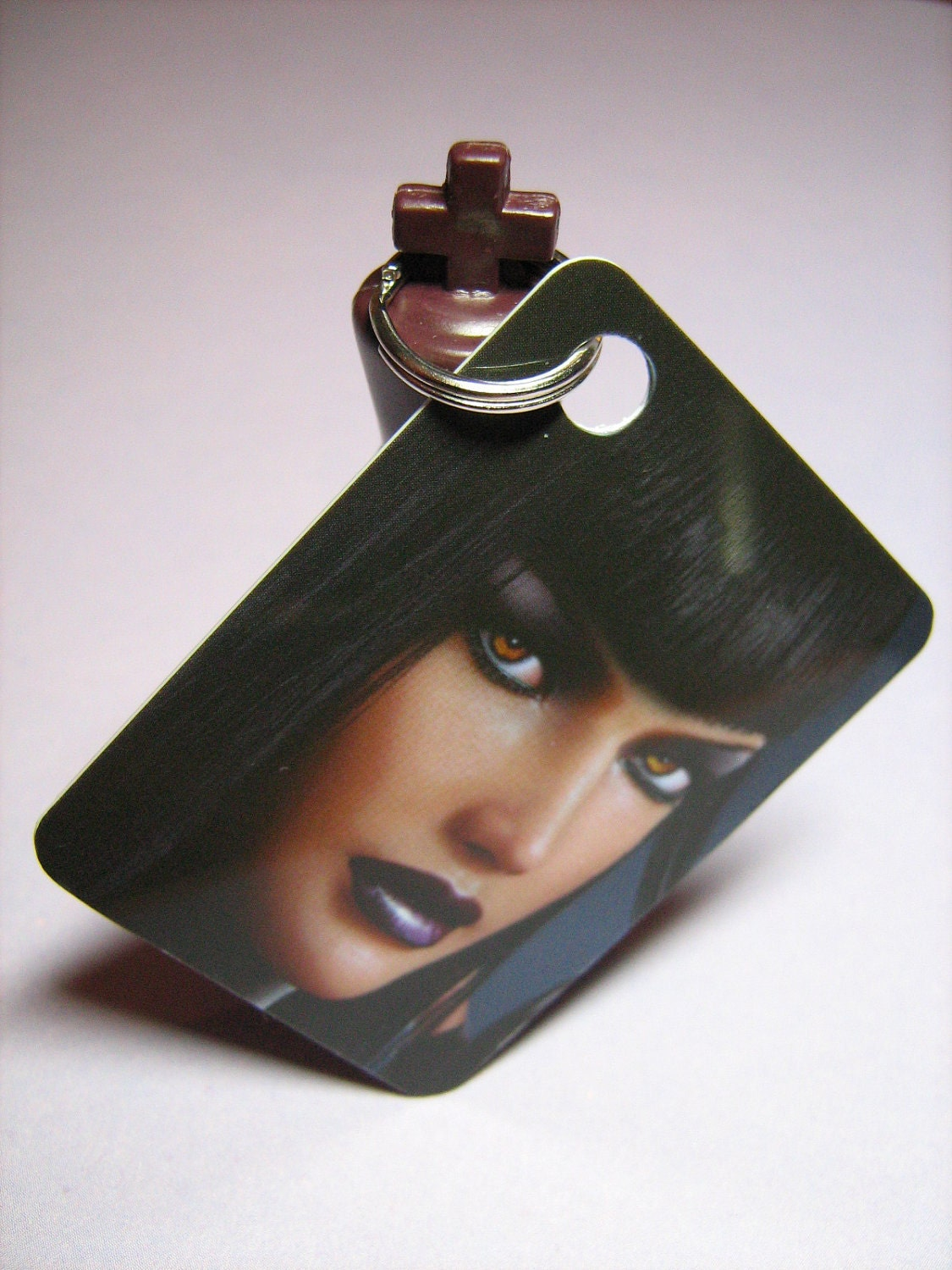 Keychain: Upcycled City of Heroes Game Card Featuring Desdemona