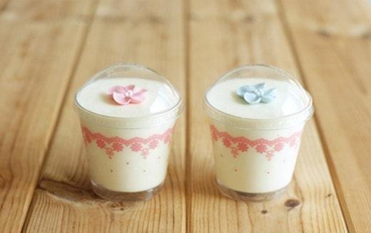 4 Pink Lace Flower Dessert Cup ,7.6cm x (H)7cm