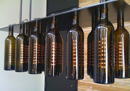 Obscurious emporium of oddities bobby dlite 39 s wine bottle ceiling light - Wine bottle light fixture chandelier ...