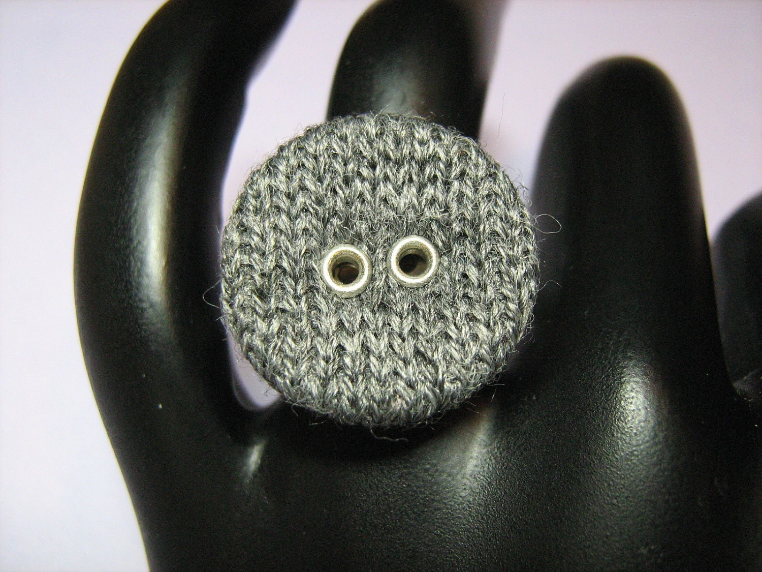 Gray Knit Button on an Adjustable Silvertone Metal Ring Base
