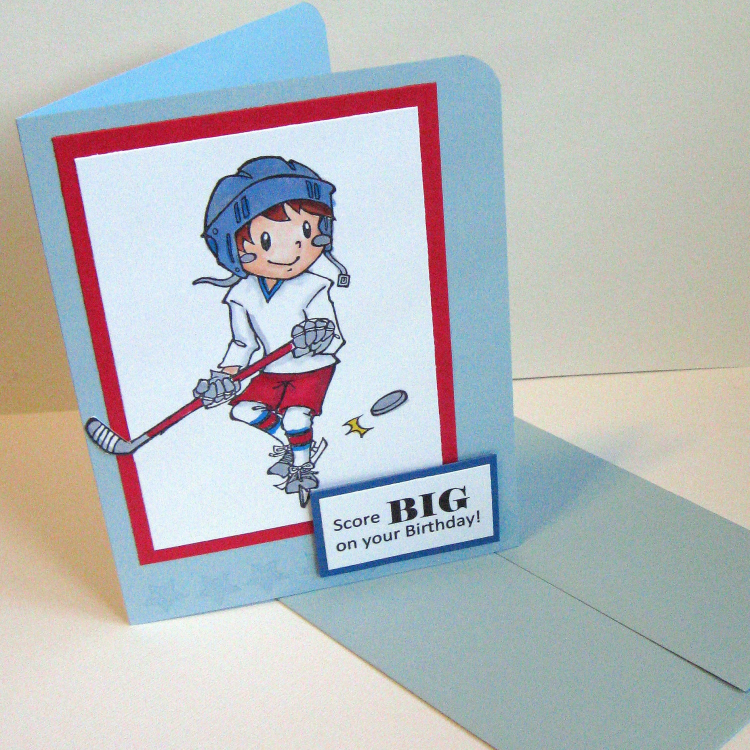 EtsyGreetings Handmade Cards: Hockey Happy Birthday Card