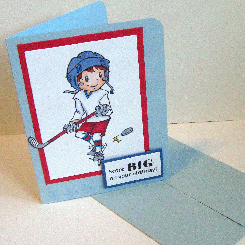 EtsyGreetings Handmade Cards Hockey Happy Birthday Card – Hockey Birthday Card