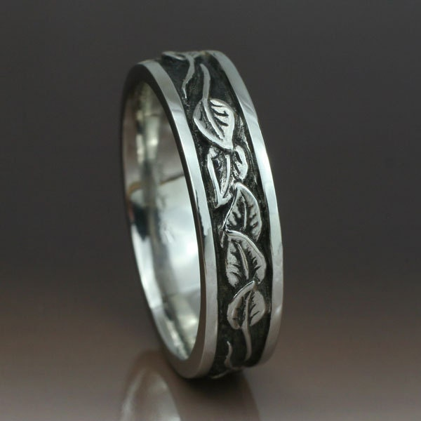 CIRCLING LEAVES Wedding Band 6mm width This ring in sterling silver