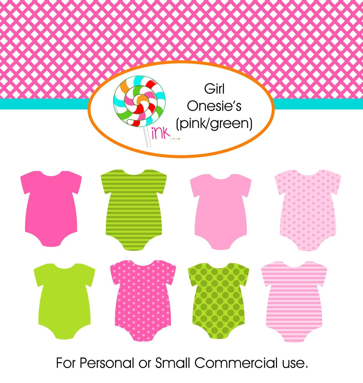 Girl Onesie Clip Art Set, Digital Pink and Green Girl ...