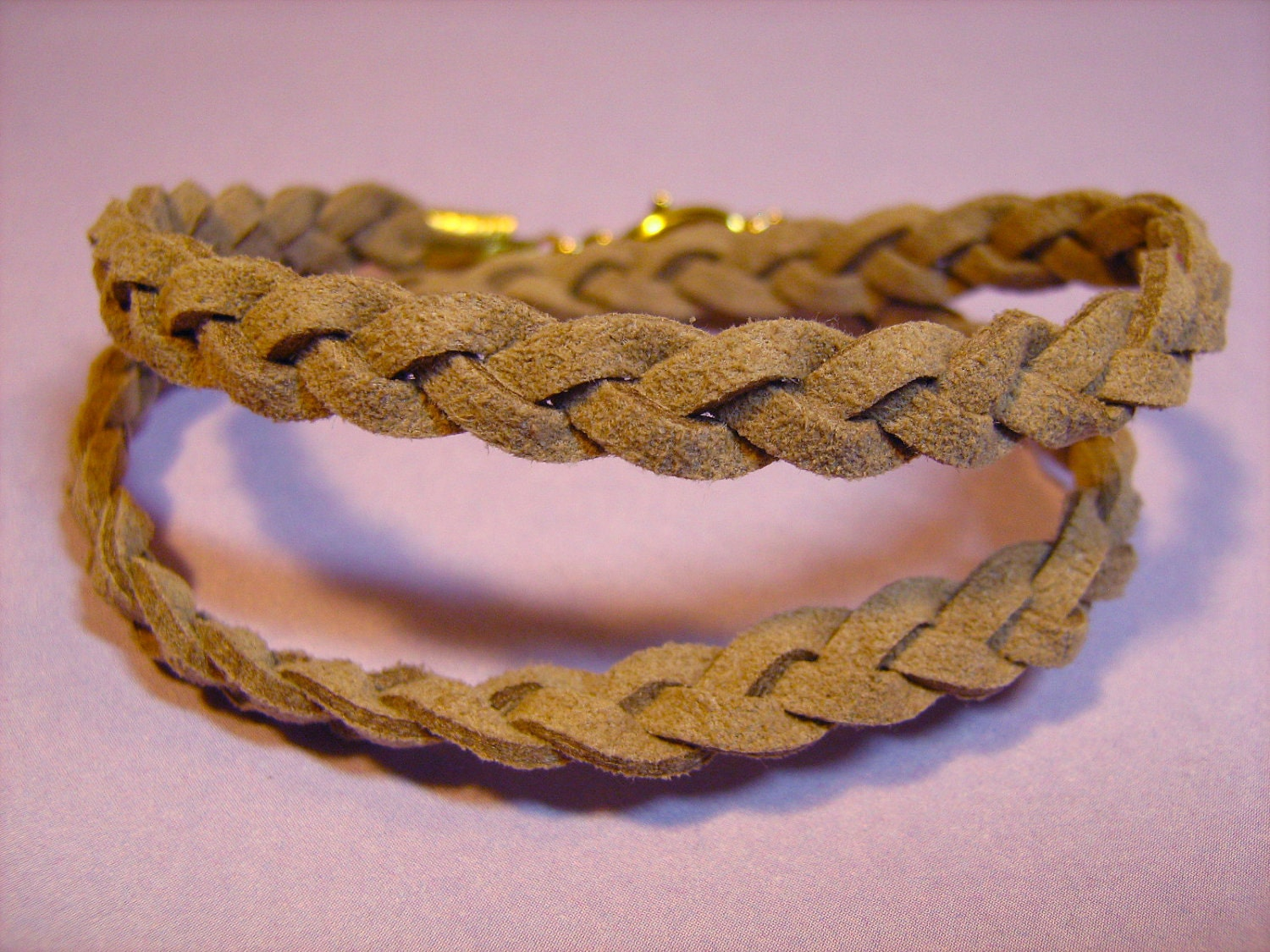 Bracelet: Double-Wrap Tan Braided Suede Cord with Goldtone Findings, for Men or Women